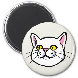 White Cat Drawing Fridge Magnet