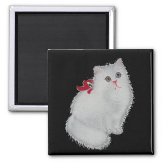 White cat square magnet