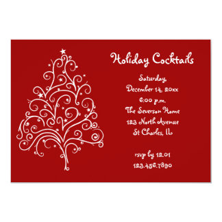 White Christmas Tree on Red Holiday Cocktail Party 13 Cm X 18 Cm Invitation Card