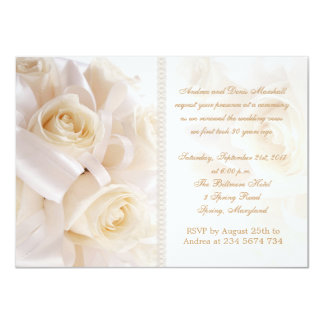 White cream roses marriage renewal ceremony 11 cm x 16 cm invitation card