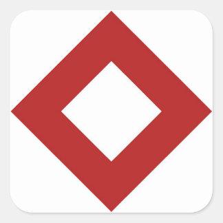 White Diamond, Bold Red Border Square Sticker
