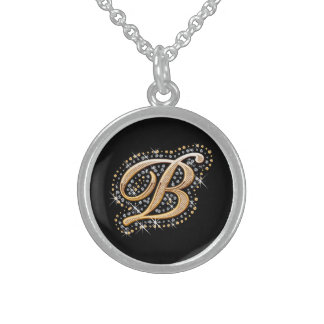 White Diamonds and Golden Initial ''B'' Neklace Round Pendant Necklace