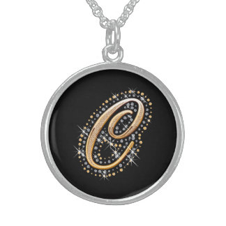 White Diamonds and Golden Initial ''C'' Necklace