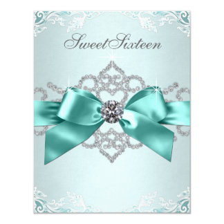 White Diamonds Teal Blue Sweet 16 Birthday Party 11 Cm X 14 Cm Invitation Card