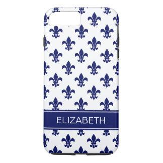 White / DIY Navy Fleur de Lis Navy Name Monogram iPhone 7 Plus Case