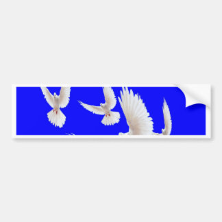 White Doves Cobalt Blue gifts by Sharles Bumper Sticker
