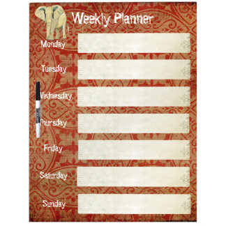 White Elephant Weekly Planner Dry Erase Board