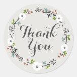 White Floral Branch Wreath | Thank you Sticker
