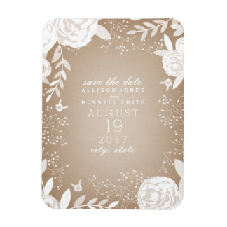 White Floral Cardstock Inspired Save The Date Rectangular Photo Magnet