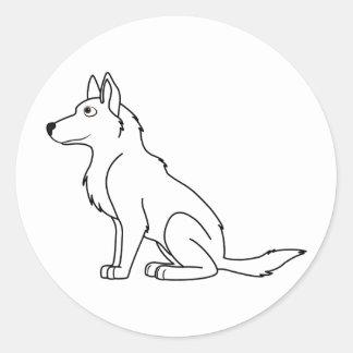 White German Shepherd Round Sticker