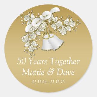 White Gold Wedding Bells Flowers 50th Anniversary Round Sticker