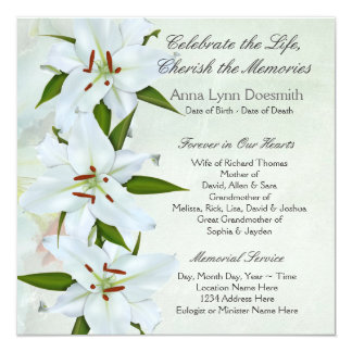 White Lily Funeral Announcements