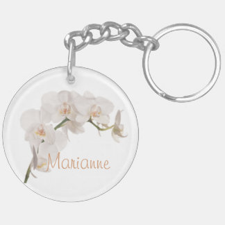 White Moth Orchid Double-Sided Round Acrylic Key Ring