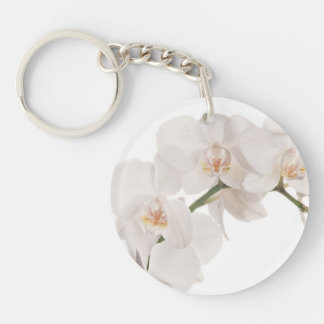 White Moth Orchid Single-Sided Round Acrylic Key Ring