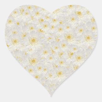 White Mums Heart Sticker