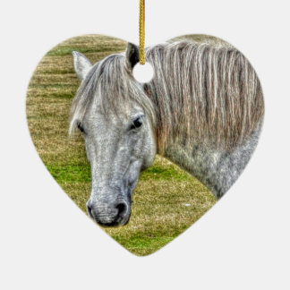 White New Forest Pony Wild Horse Ceramic Heart Decoration