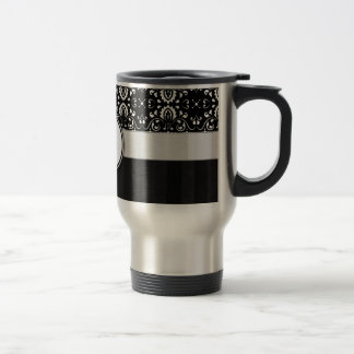 White on Black Damask and Stripes with Monogram Stainless Steel Travel Mug