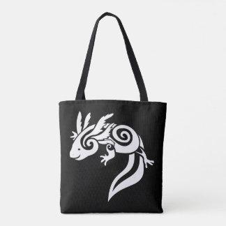 White on Black Tribal Axolotl Mexican Salamander Tote Bag