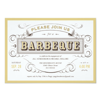 White Ornate Vintage Barbeque Cookout Invitation