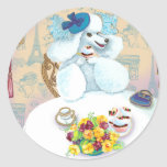 White Poodle Tea Party with Cupcakes Round Sticker