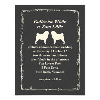 White Pug Silhouettes Wedding Announcement