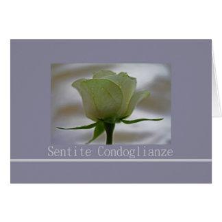 white rose on grey italian sympathy card