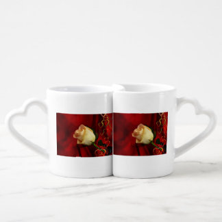 White rose on red background lovers mug