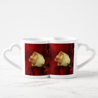 White rose on red background lovers mug