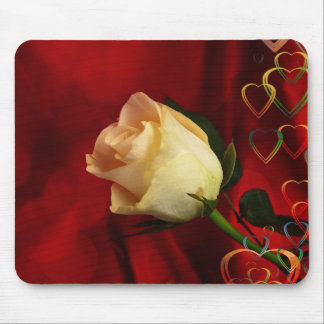 White rose on red background mouse pad