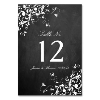 White Swirls On Chalkboard Wedding Table Number Table Cards