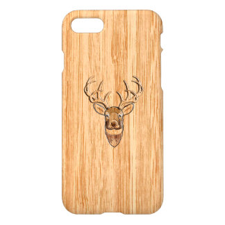 White Tail Deer Head Blond Wood Grain Style iPhone 7 Case
