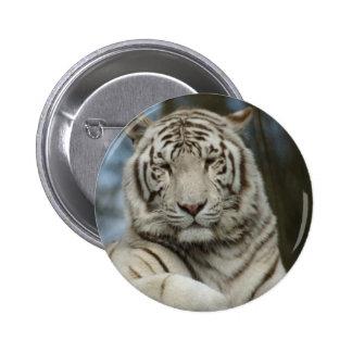 White Tiger 6 Cm Round Badge