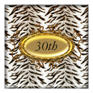 White Tiger and Gold Birthday Party Invitation