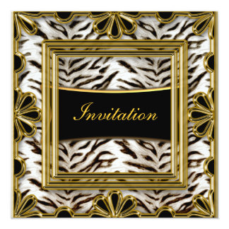 White Tiger Gold Black Birthday frame gold 13 Cm X 13 Cm Square Invitation Card
