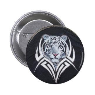 White Tiger Tribal 6 Cm Round Badge