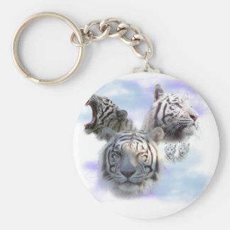 White Tigers Basic Round Button Key Ring