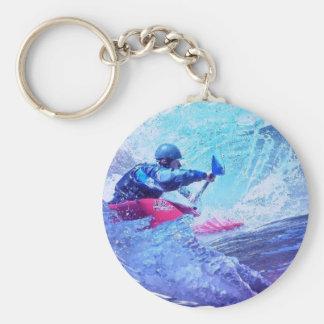 White Water Kayaker Basic Round Button Key Ring