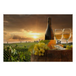 White Wine With Barrel On Vineyard In Chianti Poster