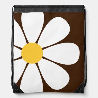 White & Yellow Daisy Flower on Brown Drawstring Backpacks