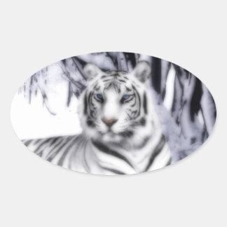WhiteTiger Oval Sticker