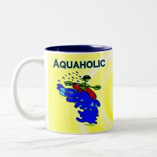 Whitewater Kayaker Aquaholic Blue Green Two-Tone Mug
