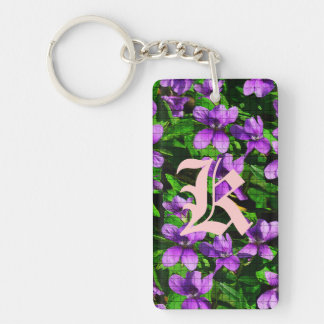 WI State Flower Wood Violet Mosaic Double-Sided Rectangular Acrylic Key Ring