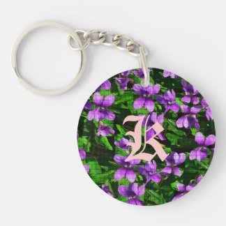WI State Flower Wood Violet Mosaic Double-Sided Round Acrylic Key Ring