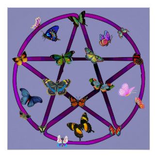 Wiccan Star and Butterflies Poster