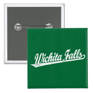Wichita Falls script logo in white distressed 15 Cm Square Badge