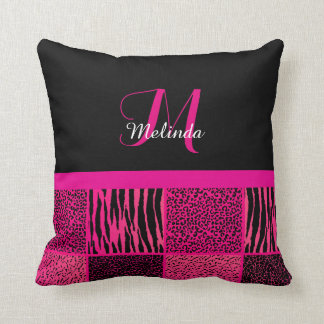 Wild Jungle Animal Patterns in Hot Pink | Monogram Throw Cushions