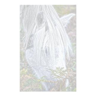 Wild White New Forest Pony Grazing on Bracken Personalized Stationery