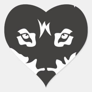 Wild Wolf Face Silhouette Heart Sticker