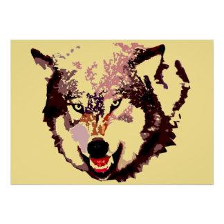 Wild Wolf Pop Art Poster - Animal Artworks