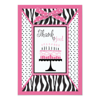 Wild Zebra Print & Birthday Cake Pink Thank You 13 Cm X 18 Cm Invitation Card